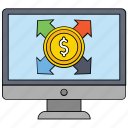 affiliate marketing, currency business, currency exchange, currency value, dollar valuation, money exchange, online affiliate marketing icon
