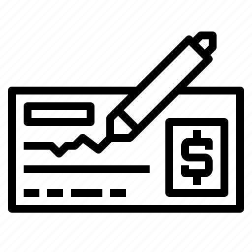 bank, banking, cheque, finance, payment, writing icon