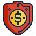 business, finance, guard, insurance, money, protection, shield icon