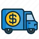 delivery, dollar, finance, money, transportion, truck icon