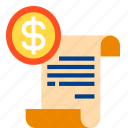 cash, document, file, finance, money icon