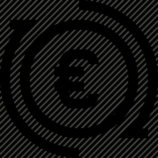 arrow, coin, euro, generate, money, produce, refresh icon