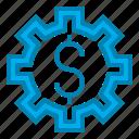 blue, cogwheel, dollar, gear, market, online, seo icon