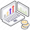 business analytics, business growth, cash analysis, finance graph, financial graph icon