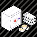 business locker, money box, money cabinet, money locker, money safety icon