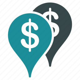 bank, branches, finance, locations, map pointers, money, navigation icon