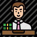 avatar, bank, banking, male, money, teller