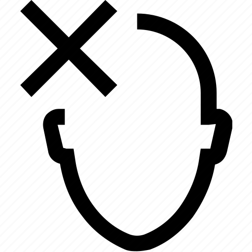 avatar, cross, decline, employee, face, false, head icon