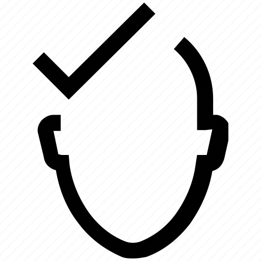 accept, avatar, check, face, head, mark, true icon