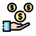 banking, cash, earning, finance, fund, money, transaction icon icon