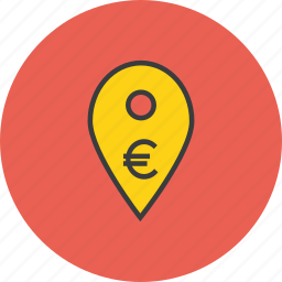 atm, bank, cashpoint, euro, gps, map marker, navigation icon