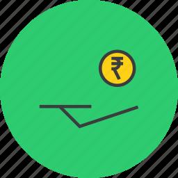 accept, cash, coin, donate, donation, funds, rupee icon