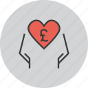 care, charity, donate, donation, love, pound, trust icon