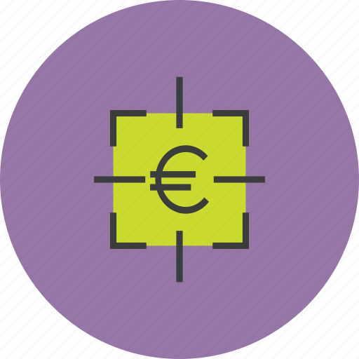 euro, finance, financial, focus, goal, sales, target icon