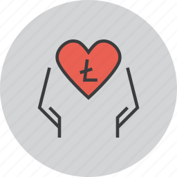 care, charity, digital, donate, donation, litecoin, online icon