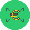 arrow, euro, funds, send, shares, transaction, transfer icon