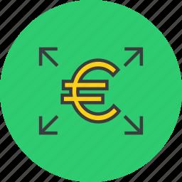 arrow, euro, funds, send, shares, transaction, transfer icon