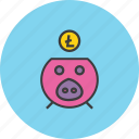 bank, digital, litecoin, online, piggy, save, savings icon