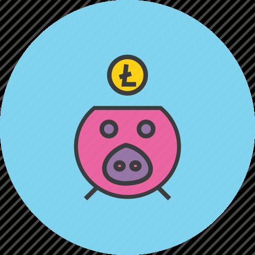 bank, digital, litecoin, online, piggy, save, savings icon