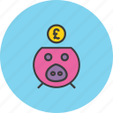 bank, banking, finance, guardar, piggy, pound, save, savings icon