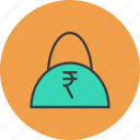 bag, balance, buy, cash, finance, rupee, shopping icon