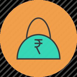 bag, balance, buy, cash, finance, rupee, shopping icon