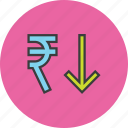 decrease, finance, forex, rupee, shares, stocks, value icon