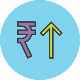 business, finance, increase, rupee, shares, stocks, value icon