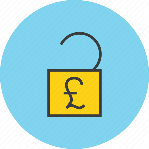 account, banking, enable, funds, pound, transaction, unlock icon