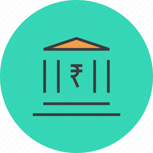 bank, banking, building, financial, instituition, institute, rupee icon