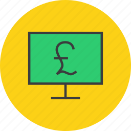 computer, ebanking, electronic, etrade, finance, online, pound icon