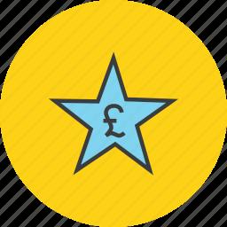 award, credit, favorite, pound, rate, reward, star icon