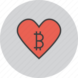 bitcoin, charity, donate, donation, heart, love, online icon