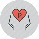 care, charity, donate, donation, heart, love, ruble icon