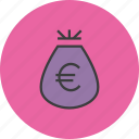 bag, cash, euro, funds, money, reward, trade icon
