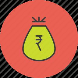 bag, cash, funds, money, reward, rupee, trade icon