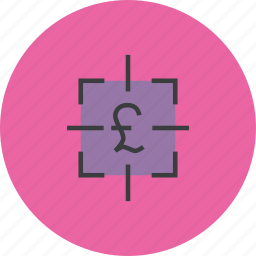 finance, financial, focus, goal, pound, sales, target icon