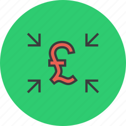 attract, cash, crowdfunding, funds, pound, receive, transfer icon