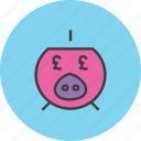 bank, banking, finance, pig, piggy, pound, savings icon
