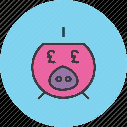 bank, banking, finance, pig, piggy, pound, savings icon