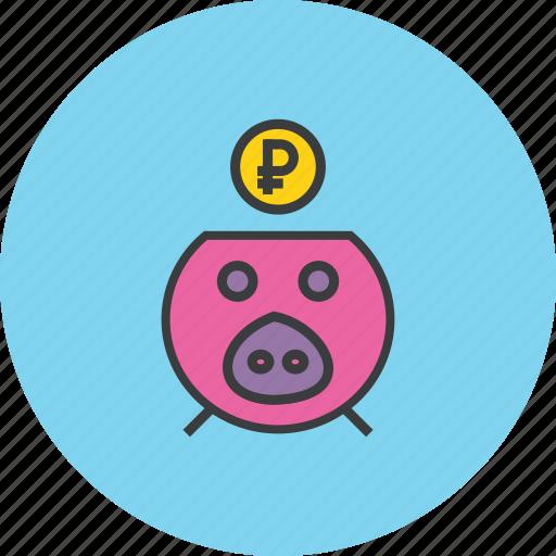 bank, banking, finance, guardar, piggy, ruble, save, savings icon