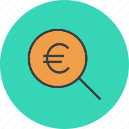 euro, find, funds, identify, locate, search, source icon
