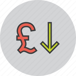 currency, decrease, foreign exchange, pound, shares, stocks, value icon