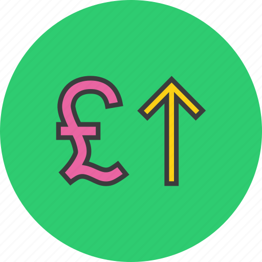 currency, foreign exchange, increase, pound, shares, stocks, value icon