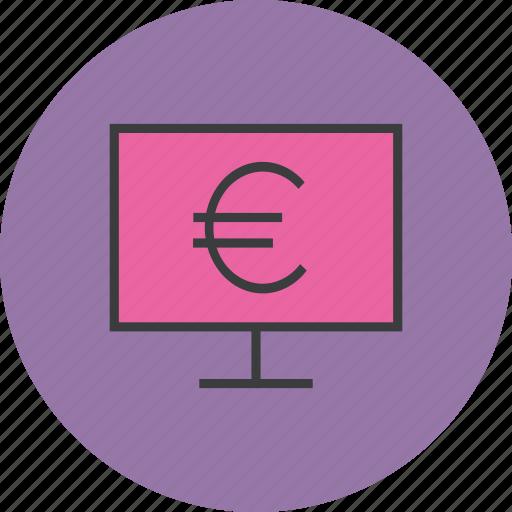 computer, ebanking, electronic, etrade, euro, finance, online icon