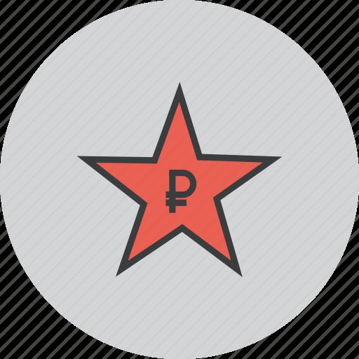 award, credit, favorite, rate, reward, ruble, star icon
