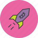 bitcoin, increase, online shopping, profit, rocket, usage, value icon