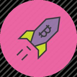 bitcoin, increase, online shopping, profit, rocket, usage, value icon