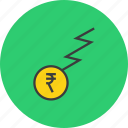 business, charge, finance, flow, funds, rupee, trade icon