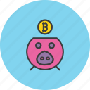 bank, banking, bitcoin, digital, finance, piggy, savings icon